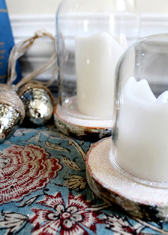 Create Your Own Holiday Birch & Glitter Cloches Using Wood Slices