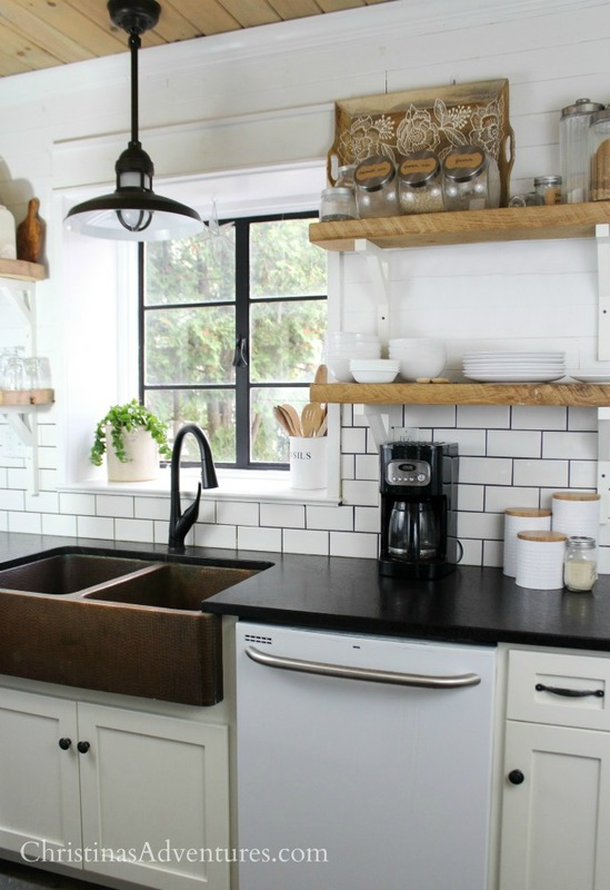 Open Shelf Island Bench Wood Beams And Country Sink: Our New Faucet {Delta Faucet Shieldspray Technology