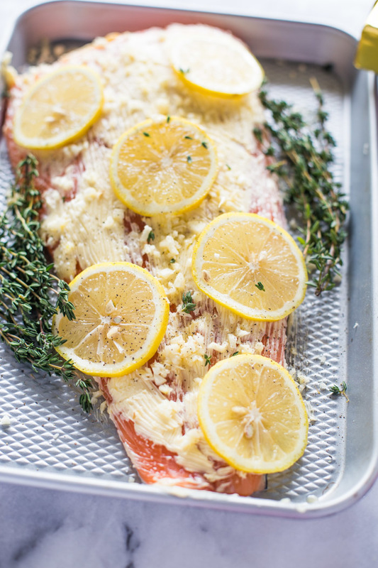 Roasted Lemon Garlic Butter Salmon