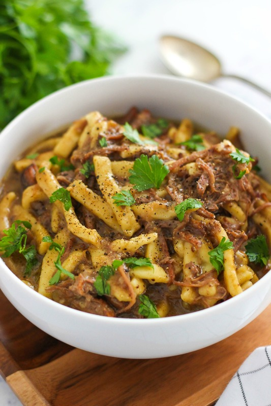 Easy Slow Cooker Beef and Noodles is a simple comfort meal recipe that the whole family can enjoy.