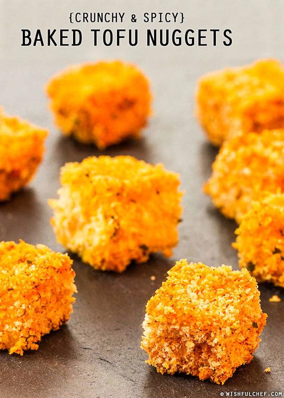 Crunchy & Spicy Baked Tofu Nuggets // wishfulchef.com