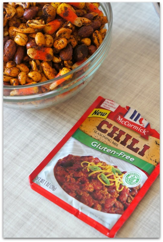 A yummy appetizer for your Halloween party. Chili spiced nuts with candy corn for a salty and sweet mix.