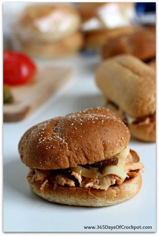 slow cooker 4 ingredient cream cheese chicken sandwiches