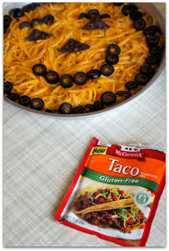 Gluten-free Taco Hummus...cute Halloween party food