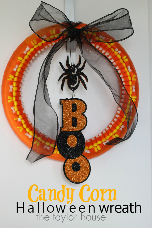 Halloween Craft, Candy Corn Wreath, Dollar Tree