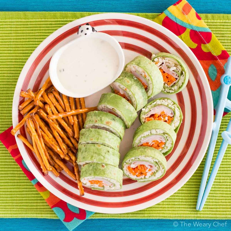 Pack some fun in your child's lunch with these turkey and cheese sushi sandwich rolls!