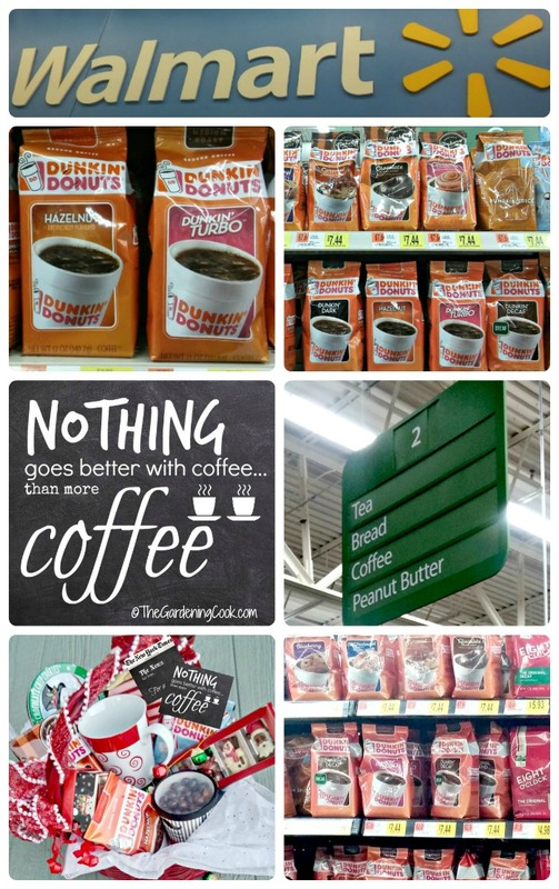 Make your own coffee lovers gift basket with Dunkin Donuts coffee from Walmart