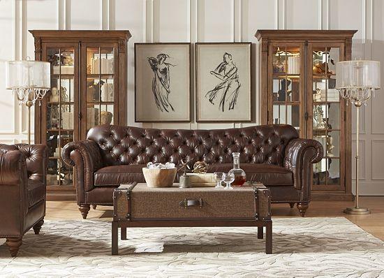 havertys distressed leather nailhead large sofa   Havertys leather sofa