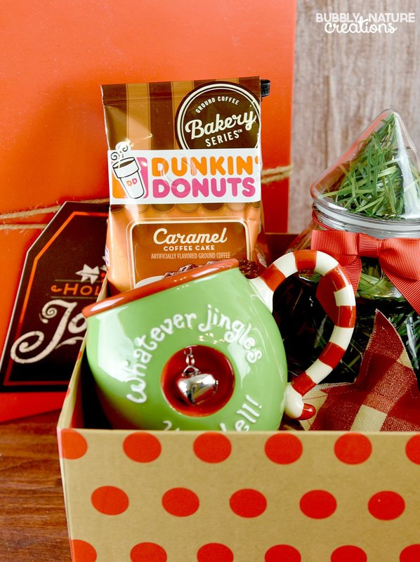 Coffee and Donuts Christmas Gift Basket Idea! Great for the coffee and donut lover!