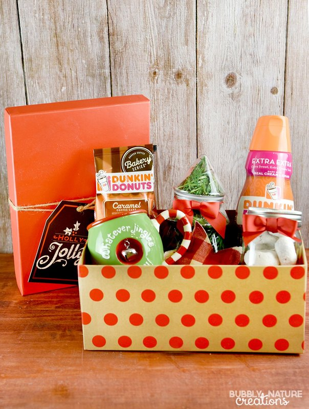 Dunkin Donuts Christmas Gift Basket Idea! Great idea for the coffee and donut lover!