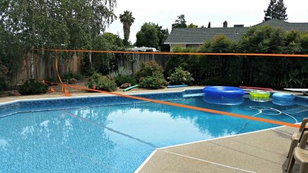 Slackline Over The Pool