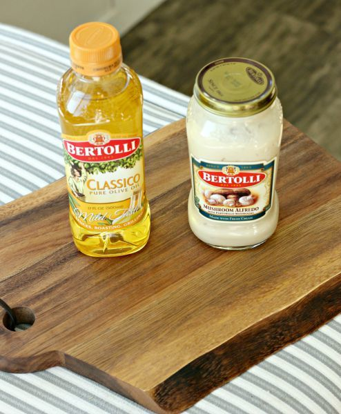 Bertolli Mushroom Alfredo sauce and Olive Oil
