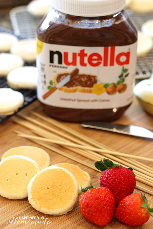 Making Nutella Pancake and Fruit Skewers