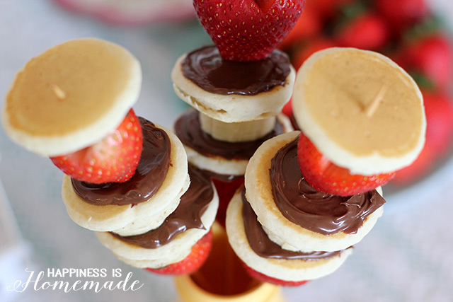 Nutella Pancakes and Strawberry Breakfast Skewer Kabobs