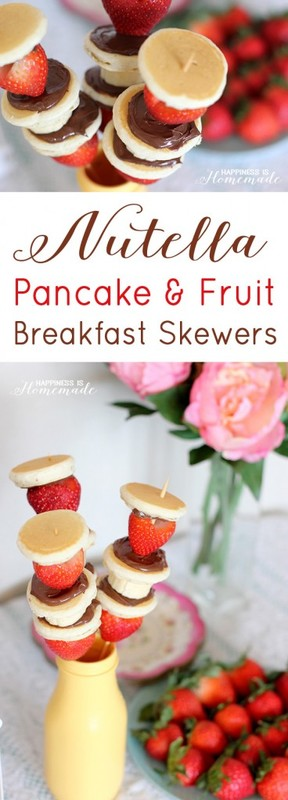 Nutella Pancake and Fruit Breakfast Skewers