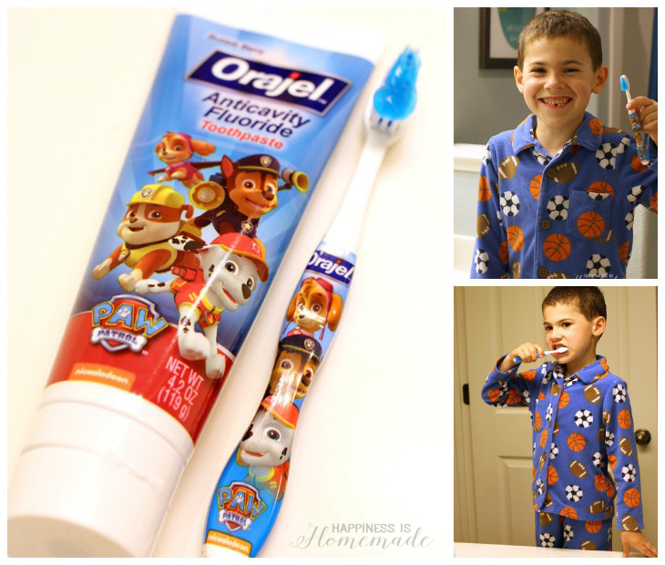 Brushing with Orajel PAW Patrol Toothpaste and Toothbrush