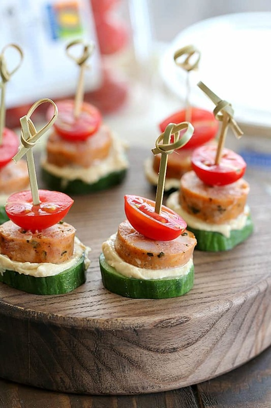 Looking for a delicious snack that's healthy, too? Try these Sausage Cucumber Bites! Fun to make and fun to eat! Your kids will love helping you put these together!