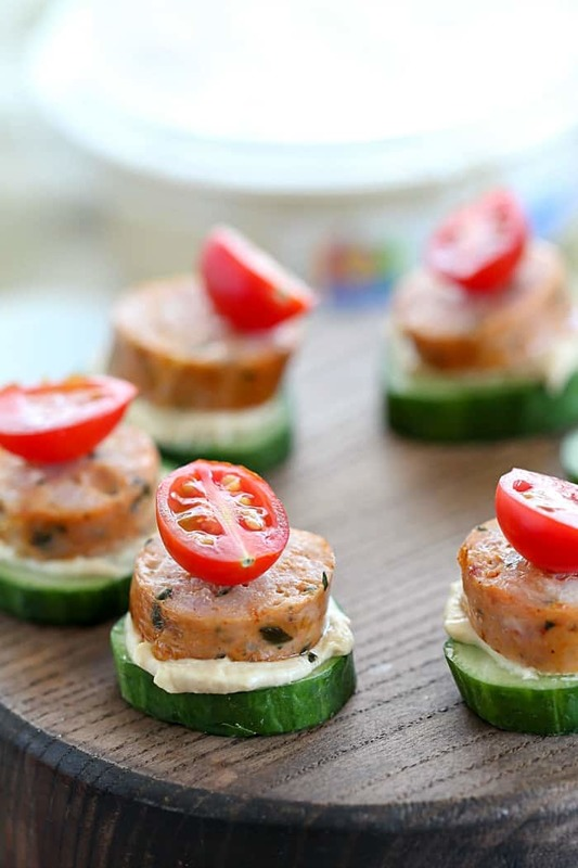 These adorable Sausage Cucumber Bites are a great low carb snack for the whole family! #AD