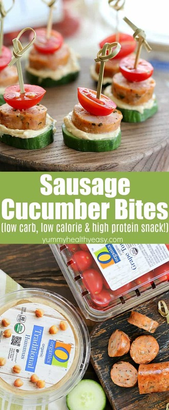 Looking for a delicious snack that's healthy, too? Try these Sausage Cucumber Bites! Fun to make and fun to eat! Your kids will love helping you put these together! They're low carb, low calorie, and high protein! The perfect after school snack! #ad #lowcarb #lowcalorie #highprotein #snack #recipe #yummy #healthy #easy #delicious