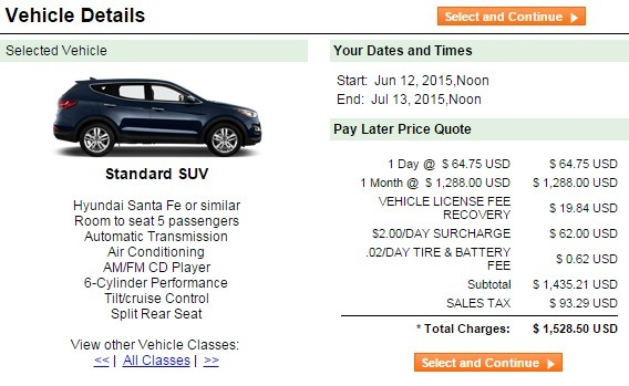 month suv rental price