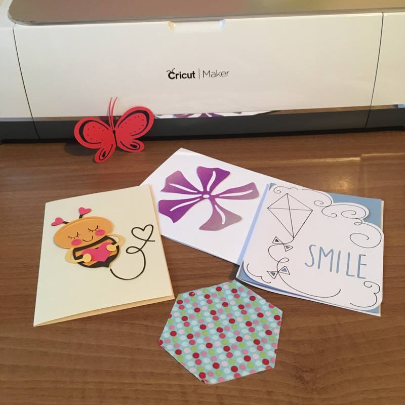 Butterfly, Bee, Flower and shapes created with the Cricut Maker using Design Space