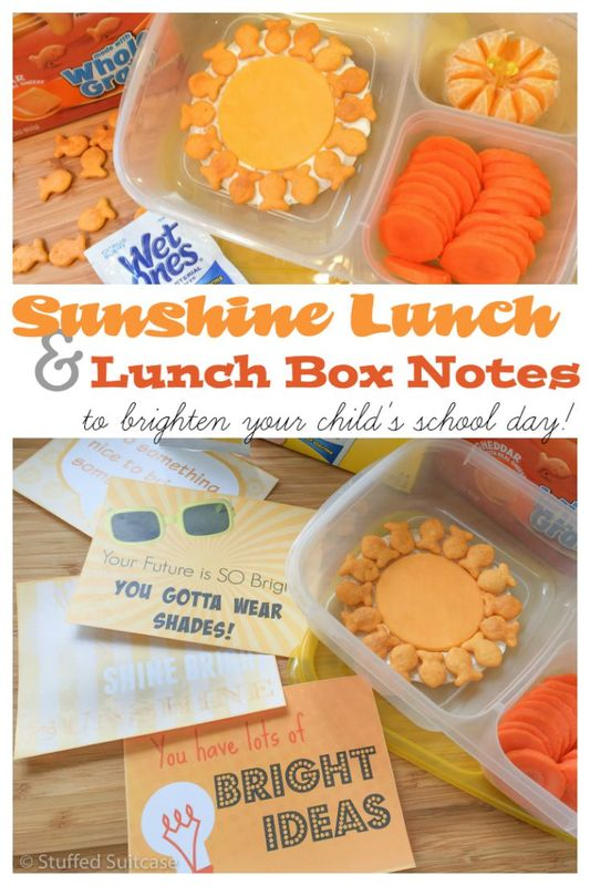 Need some ideas for packing back to school lunches? How about this fun sunshine themed lunch paired with a free printable lunch box note to brighten your child's school day!