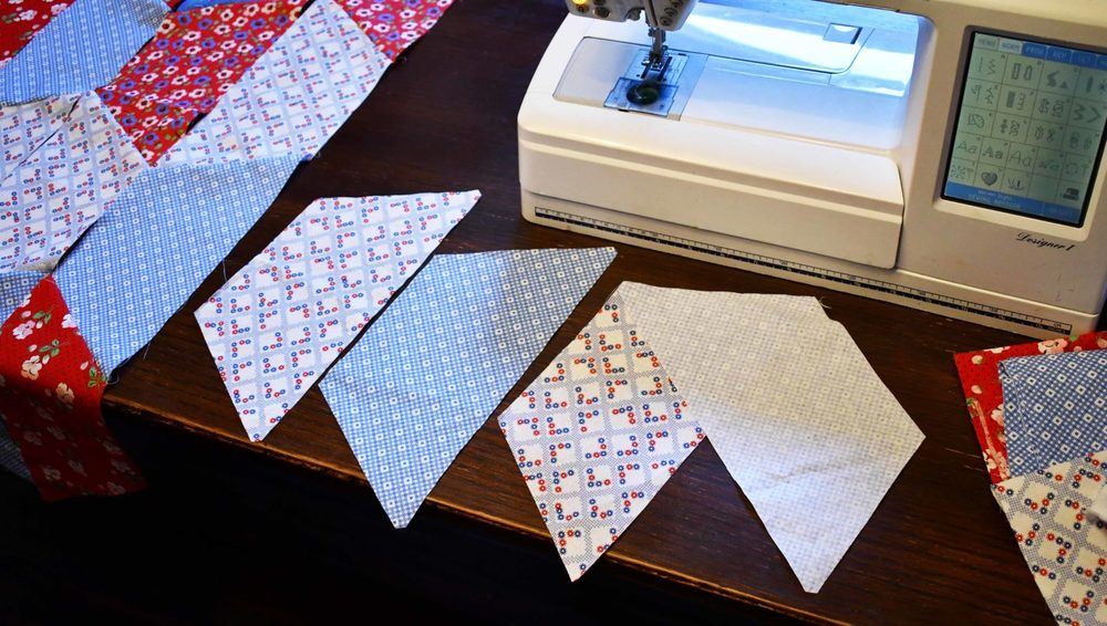 Connecting two Half Hexies Joanns Premium Quilting Fabric