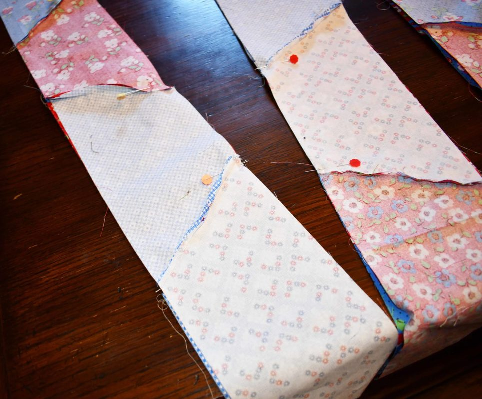 Pinning together Half Hexie Strips with Joanns Premium Quilt Fabric