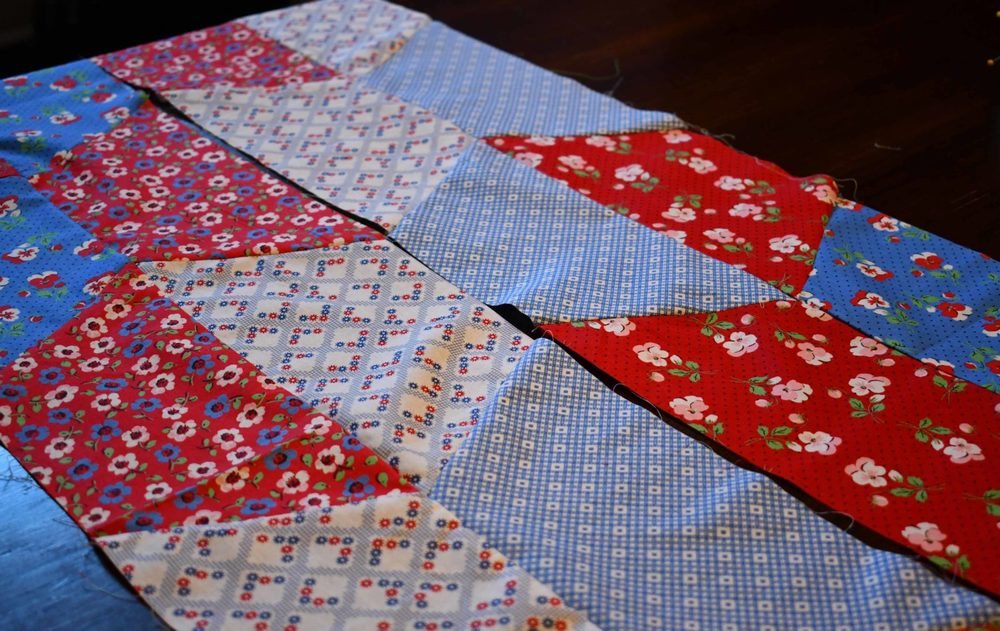 Sew together two Half Hexie Strips then Sew more