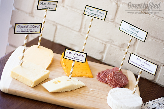 Cheese and meat tray with personality for book club