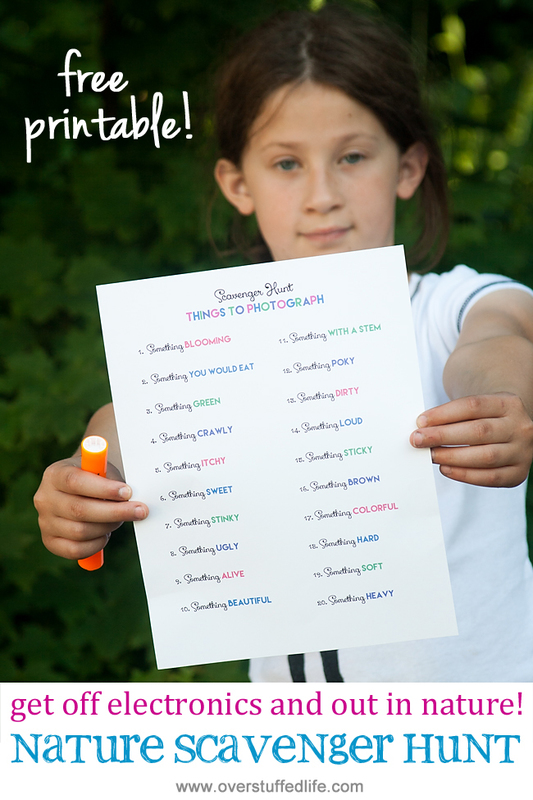 Go on a fun nature scavenger hunt and get off electronics.