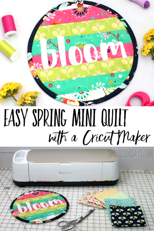 Make your first quilt without measuring a thing, using the Cricut Maker! Follow this video tutorial for how to make a spring mini quilt Super cute, simple patchwork wall hanging or table decoration. #cricut #quilt #patchwork