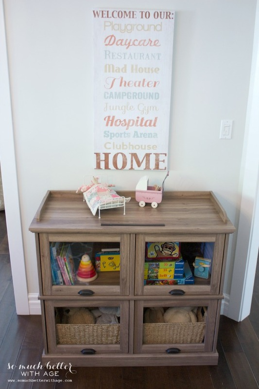 One cabinet styled three ways / styled for a playroom - So Much Better With Age