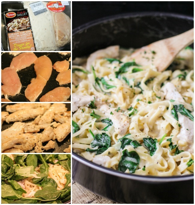 One Skillet Chicken & Spinach Fettuccine Alfredo is the perfect weeknight meal!