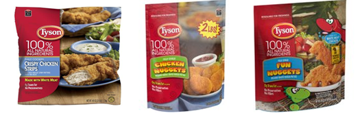 Tyson Chicken products.