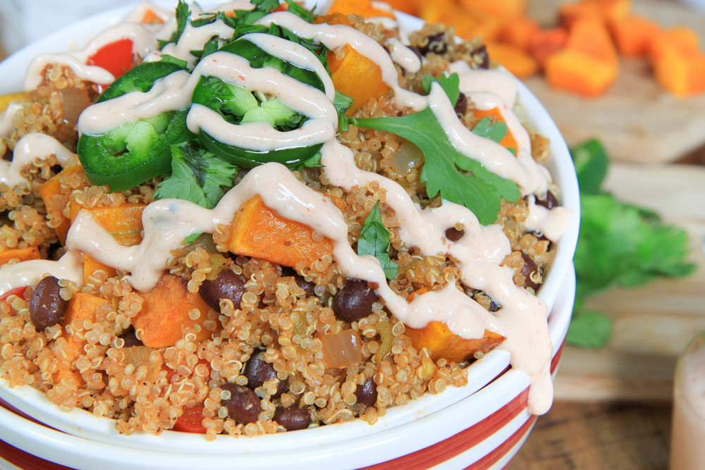 butternut squash and black bean quinoa bowls with vegan chipotle sauce ...