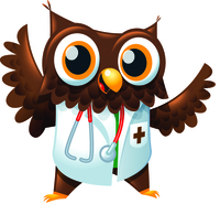 A drawing of a cartoon owl character dressed as a doctor.