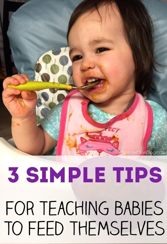 Is your baby ready to learn to feed themselves? Try these tips to help them practice eating and chewing on their own! #sponsored