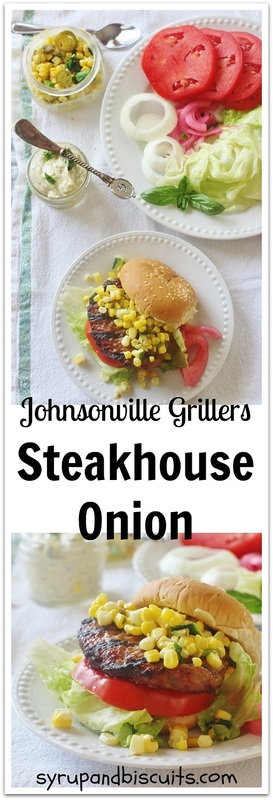 Steakhouse Onion with Roasted Garlic and Herb Sauce and Roasted Corn and Jalapeno Relish. @jvillesausage #jvillesausage #ad