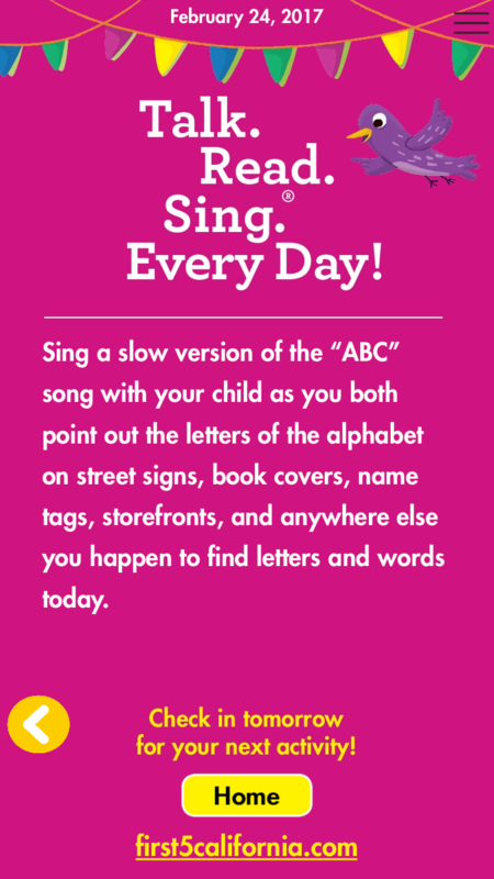 First 5 California Talk Read Sing app, prompt for parents