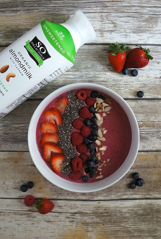 I love making this mixed berry smoothie bowl made wit So Delicious Almondmilk