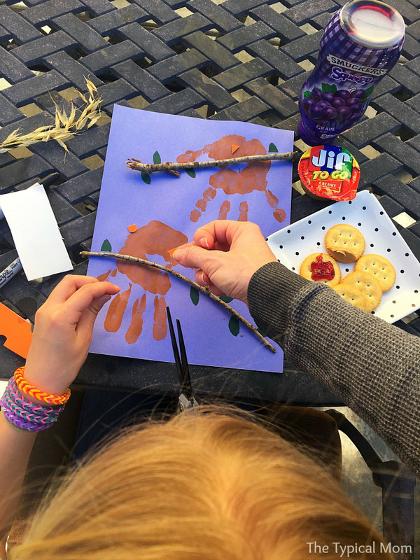 Owl hand art activity.