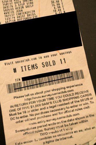 sams receipt