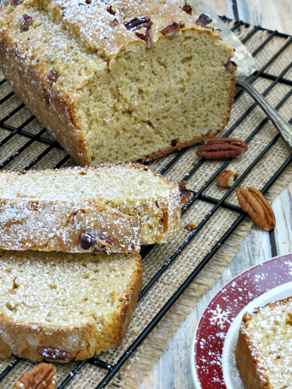 My eggnog bread is a moist and delicious quick bread bursting with the flavors of eggnog, vanilla and cinnamon!