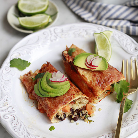 Sweet Potato Black Bean Quinoa Enchiladas