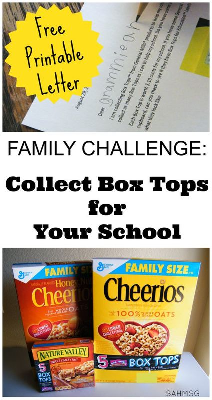 Get family involved in collecting General Mills Box Tops for Education with this free printable Challenge Letter you can personalize with your child!