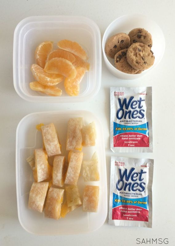 Simple lunches are made fun with a child's favorites, easy clean up ideas like Wet Ones singles, and special lunch box notes. Check out the DIY lunch box notes holder!