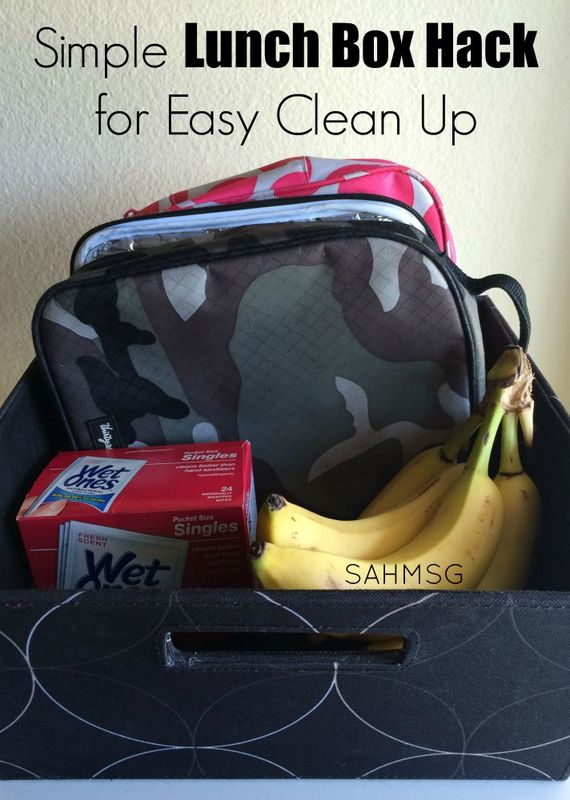 Simple lunch box hack for easy clean up of messes. mThis is my new favorite hack for back to school season! Wet Ones singles are motherhood staple.