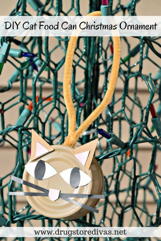 #ad Looking for a fun and festive way to upcycle? Check out this DIY Cat Food Can Christmas Ornament from www.drugstoredivas.net. #PetSmartCart