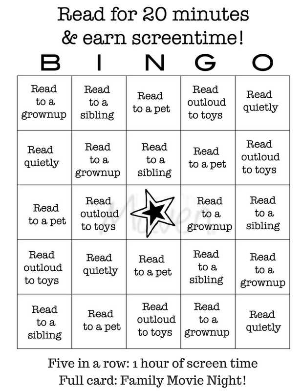 Use this free printable for reading bingo so your kids can earn screen time!